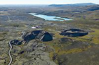 Grábrók, Rauðbrók, Bifröst og Hreðavatn séð til suðurs Norðurárdalshreppur /.Grabrok, Raudbrok, Bifrost and Hredavatn viewing south,.Nordurardalshreppur.