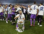 Karim Benzema of Real Madrid with the trophy during the Champions League Final match at the Millennium Stadium, Cardiff. Picture date: June 3rd, 2017.Picture credit should read: David Klein/Sportimage