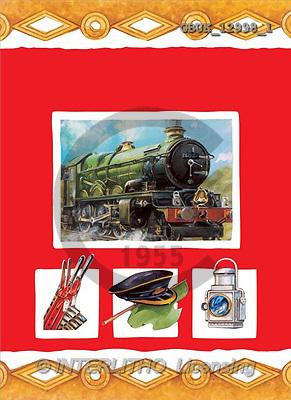 Stephen, MASCULIN, paintings, train, symbols(GBUK12998/1,#M#) Männer, masculino, illustrations, pinturas , hombres ,everyday