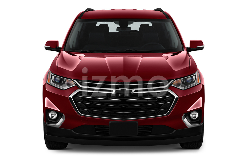 Car photography straight front view of a 2020 Chevrolet traverse 3LT 5 Door SUV