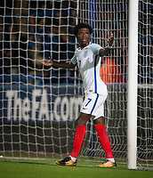 Isaac Buckley-Ricketts (FC Twente (on loan from Manchester City) of England U20 complains to the linesman during the International friendly match between England U20 and Netherlands U20 at New Bucks Head, Telford, England on 31 August 2017. Photo by Andy Rowland.