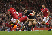 Wales' Jonah Holmes is tackled by Tonga's Daniel Kilioni<br /> <br /> Photographer Ian Cook/CameraSport<br /> <br /> Under Armour Series Autumn Internationals - Wales v Tonga - Saturday 17th November 2018 - Principality Stadium - Cardiff<br /> <br /> World Copyright © 2018 CameraSport. All rights reserved. 43 Linden Ave. Countesthorpe. Leicester. England. LE8 5PG - Tel: +44 (0) 116 277 4147 - admin@camerasport.com - www.camerasport.com