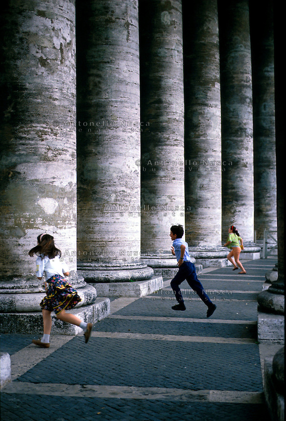 Children playing in Saint Peter Square