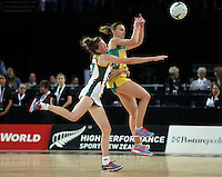 27.08.2016 South Africa's Karla Mostert and Australia's Natalie Medhurst in action during the Netball Quad Series match between South Africa and Australia at Vector Arena in Auckland. Mandatory Photo Credit ©Michael Bradley.