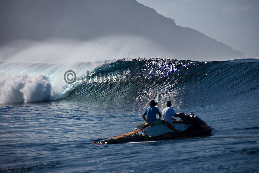 DEAN MORRISON (AUS) watches an empty wave break at a reef pass near Teahupoo, Tahiti, (Friday May 15 2009.) Photo: joliphotos.com