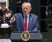"United States President Donald J. Trump makes remarks as he hosts the Third Annual ""Made in America"" Product Showcase on the South Lawn of the White House in Washington, DC on Monday, July 15, 2019. The President also took questions from the media.<br /> Credit: Ron Sachs / CNP"