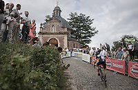 Daan Soete (BEL/U23/Telenet-Fidea) up the infamous Kapelmuur<br /> <br /> Brico-cross Geraardsbergen 2016<br /> U23 + Elite Mens race