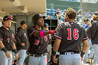 Visalia Rawhide Ramon Hernandez (16) and Marcus Wilson (12) have a moment in the dugout during the game against the Rancho Cucamonga Quakes at LoanMart Field on May 13, 2018 in Rancho Cucamonga, California. The Quakes defeated the Rawhide 3-2.  (Donn Parris/Four Seam Images)