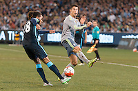 Melbourne, 24 July 2015 - Jason Denayer of Manchester City kicks the ball in game three of the International Champions Cup match between Manchester City and Real Madrid at the Melbourne Cricket Ground, Australia. Real Madrid def City 4-1. (Photo Sydney Low / AsteriskImages.com)