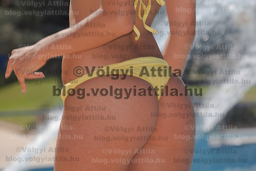 Bottom of a participant is seen during the Miss Bikini Hungary beauty contest held in Budapest, Hungary on August 29, 2010. ATTILA VOLGYI