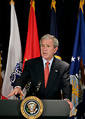 Arlington, VA - May 10, 2007 -- United States President George W. Bush addresses reporters following his meeting with United States Secretary of Defense Robert Gates and members of the Joint Chiefs of Staff on Thursday, May 10, 2007, at the Pentagon in Arlington,Virginia, discussing the needs of our military in Iraq and Afghanistan and the latest developments in implementing the new Baghdad security plan. <br /> Credit: Eric Draper - White House via CNP