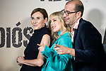 Ruth Diaz, Natalia de Molina y Paco Cabezas in the press junction of 'ADIOS', the new work of director Paco Cabezas, which has an undisputed and recognized cast headed by Mario Casas, the two-time winner of Goya Natalia de Molina, and Goya nominees Ruth Diaz and Carlos Bardem.<br /> November 15, 2019. <br /> (ALTERPHOTOS/David Jar)