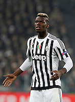 Calcio, andata degli ottavi di finale di Champions League: Juventus vs Bayern Monaco. Torino, Juventus Stadium, 23 febbraio 2016. <br /> Juventus' Paul Pogba reacts during the Champions League round of 16 first leg soccer match between Juventus and Bayern at Turin's Juventus Stadium, 23 February 2016.<br /> UPDATE IMAGES PRESS/Isabella Bonotto