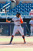 Scottsdale Scorpions center fielder Ronnie Dawson (4), of the Houston Astros organization, at bat during an Arizona Fall League game against the Peoria Javelinas at Peoria Sports Complex on October 18, 2018 in Peoria, Arizona. Scottsdale defeated Peoria 8-0. (Zachary Lucy/Four Seam Images)