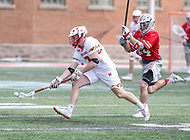 College Park, MD - April 22, 2018: Maryland Terrapins Justin Shockey (3) gets the ground ball during game between Ohio St. and Maryland at  Capital One Field at Maryland Stadium in College Park, MD.  (Photo by Elliott Brown/Media Images International)