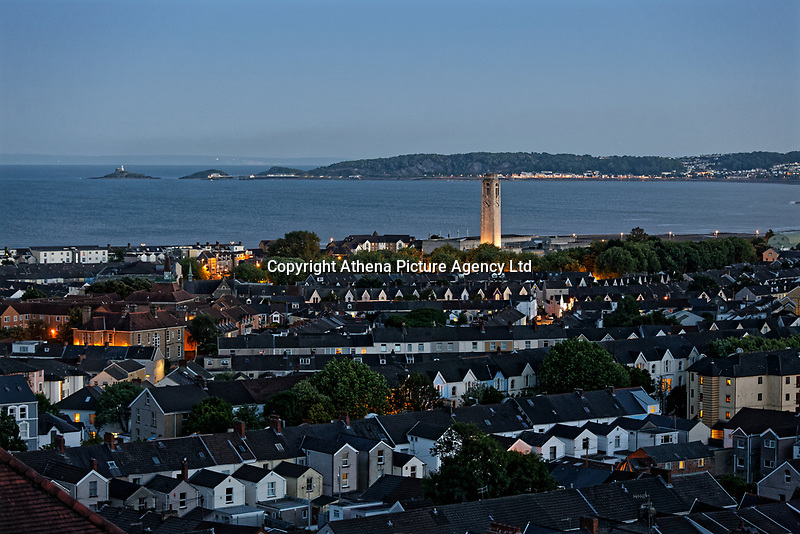 General view of Swansea Bay in south Wales at 10.20pm during the summer solstice, the year's longest day. Thursday 21 June 2018