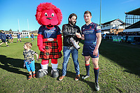 Robbie Fergusson of London Scottish receives the man of the match award after the Greene King IPA Championship match between London Scottish Football Club and Bedford Blues at Richmond Athletic Ground, Richmond, United Kingdom on 25 March 2017. Photo by David Horn / PRiME Media Images.
