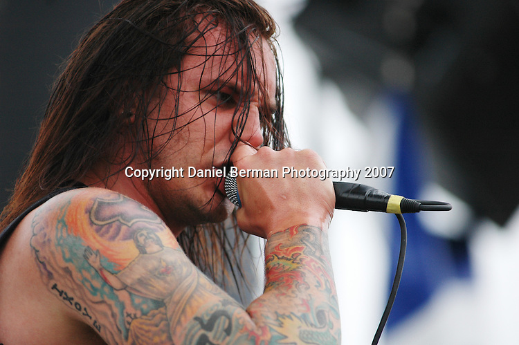 Daniel Berman for Alternative Press Magazine..Tim Lambesis of As I Lay Dying performs at the Vans Warped Tour Saturday August 18 at the Gorge Amphitheatre in George, WA...George, WA