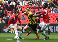 Ryan Croasdale of AFC Fylde takes the ball past Salford's Mani Dieseruvwe during AFC Fylde vs Salford City, Vanarama National League Football Promotion Final at Wembley Stadium on 11th May 2019