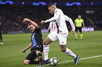 6th November 2019, Paris France; UEFA Champions league football, Paris St German versus Brugges; MATS RITS BRU slide tackles KYLIAN MBAPPE PSG