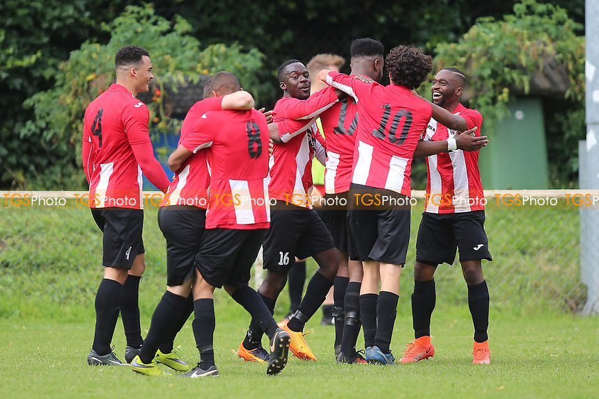 Ikem Odeh of Clapton scores the second goal and celebrates during Clapton vs Norwich United, Emirates FA Cup Football at the Old Spotted Dog Ground on 19th August 2017