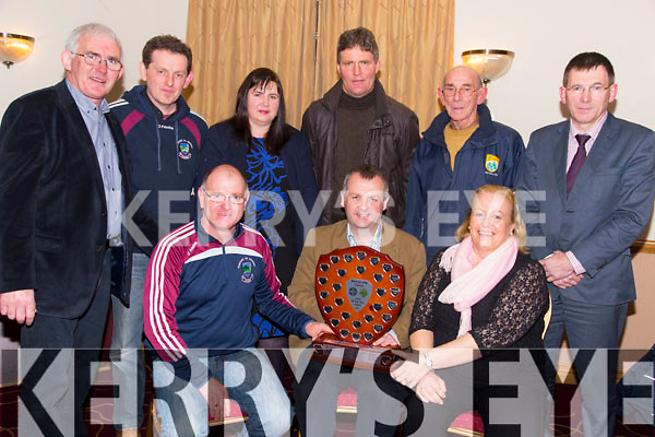 Micheal O Currain (Piarsaigh Na Dromoda/Waterville) and Marian O'Dwyer (Piarsaigh Na Dromoda/Waterville) were presented with The Bob Walsh Memorial Shield for Coiste na nÓg Chiarraí  Joint Club of the Year Award by Tom Keane (Chairman Coiste na nÓg Chiarraí ) at the AGM in Kerins O'Rahilly GAA Club on Thursday. Pictured Front l-r  Micheal O Currain, Tom Keane, Marian O'Dwyer  Back l-r Back l-r Tadhg O'Halloran, Kevin Courtney Rooney, Suzanne Ni Laoighre,  Darby Clifford, Patsy Cremin, Reggie Griffin