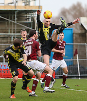 Kevin Ellison of Morecambe wins the ball during the Sky Bet League 2 match between Northampton Town and Morecambe at Sixfields Stadium, Northampton, England on 23 January 2016. Photo by David Horn / PRiME Media Images.