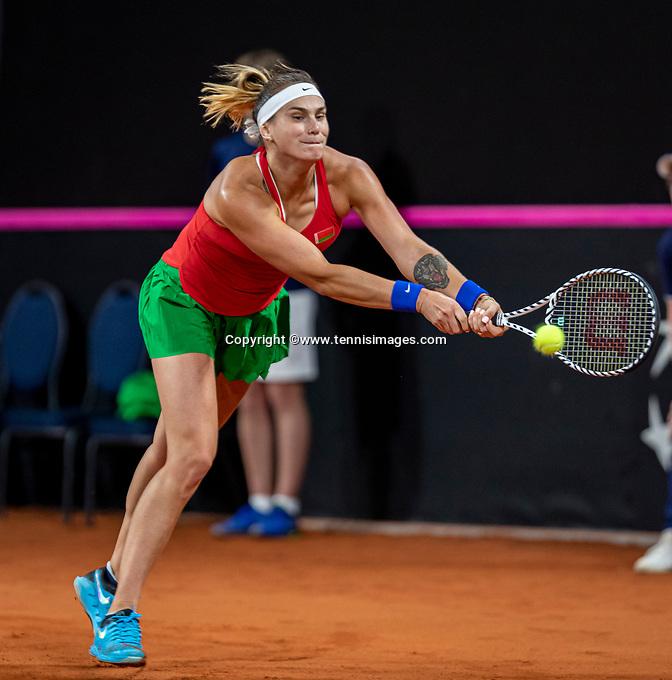 The Hague, The Netherlands, Februari 7, 2020,    Sportcampus, FedCup  Netherlands -  Balarus, Seccond match on friday:  Aryna Sabalenka (BLR)<br /> Photo: Tennisimages/Henk Koster