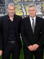 Real Madrid's new coach Carlo Ancelotti with his assistant Zinedine Zidane during his official presentation.June 26, 2013. (ALTERPHOTOS/Acero) .<br />