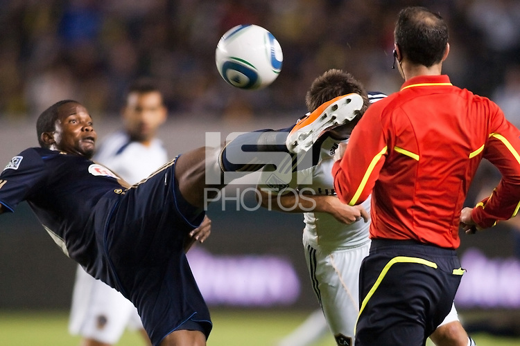Philadelphia Union forward Danny Mwanga (10) kicks LA Galaxy defender Todd Dunivant (2) in the head. The LA Galaxy defeated the Philadelphia Union 1-0 at Home Depot Center stadium in Carson, California on  April  2, 2011....