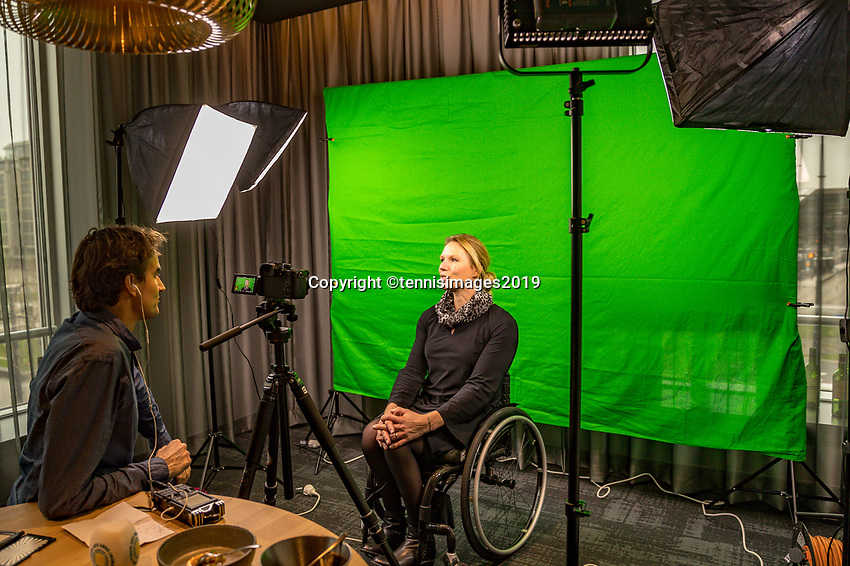 Rotterdam, The Netherlands, 10 Januari 2019, ABNAMRO World Tennis Tournament, Pressconference, Wheelchair Tournament Director Esther Vergeer is being interview by Jan Willem de Lange<br /> Photo: www.tennisimages.com/Henk Koster