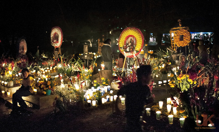 At the town cemetery in Tzintzuntzan, Mexico during the 2009 Day of the Dead festival.