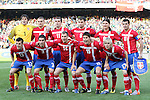 13 JUN 2010:  Serbia starting lineup: (front row)(l-r) Aleksandar Lukovic (SRB)(13), Aleksandar Kolarov (SRB)(3), Milan Jovanovic (SRB)(14), Nikola Zigic (SRB)(15), Milos Krasic (SRB)(17); (back row)(l-r) Vladimir Stojkovic (SRB)(1), Nemanja Vidic (SRB)(5), Nenad Milijas (SRB)(11), Branislav Ivanovic (SRB)(6), Marko Pantelic (SRB)(9), Dejan Stankovic (SRB)(10).  The Serbia National Team played the Ghana National Team at Loftus Versfeld Stadium in Tshwane/Pretoria, South Africa in a 2010 FIFA World Cup Group D match.