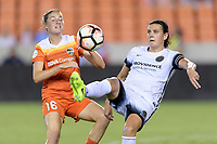 Houston, TX - Saturday July 08, 2017: Janine Beckie and Christine Sinclair battle for control of a loose ball during a regular season National Women's Soccer League (NWSL) match between the Houston Dash and the Portland Thorns FC at BBVA Compass Stadium.