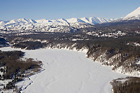 Aerial of the Skwentna River & the Alaska Range on the way to Rainy Pass 2006 Iditarod Alaska Winter