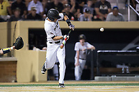 Bruce Steel (17) of the Wake Forest Demon Deacons lays down a bunt during the game against the West Virginia Mountaineers in Game Four of the Winston-Salem Regional in the 2017 College World Series at David F. Couch Ballpark on June 3, 2017 in Winston-Salem, North Carolina.  The Demon Deacons walked-off the Mountaineers 4-3.  (Brian Westerholt/Four Seam Images)
