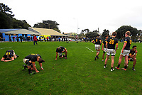 Wellington College players slump after the 17-11 loss in the Weltec Premiership Wellington secondary schools 1st XV rugby final between St Patrick's College Silverstream and Wellington College at Porirua Park in Wellington, New Zealand on Sunday, 20 August 2017. Photo: Dave Lintott / lintottphoto.co.nz