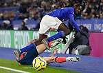 Wilfred Ndidi of Leicester City is challenged by Lucas Digne of Everton during the Premier League match at the King Power Stadium, Leicester. Picture date: 1st December 2019. Picture credit should read: Darren Staples/Sportimage