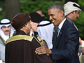 United States President Barack Obama talks to Deputy Prime Minister of Oman, Sayyid Fahad Bin Mahmood Al Said following the Gulf Cooperation Council-U.S. summit at Camp David on May 14, 2015. Obama hosted leaders from Saudi Arabia, Kuwait, Bahrain, Qatar, the United Arab Emirates and Oman to discuss a range of issues including terrorism and the U.S.-Iran nuclear deal. <br /> Credit: Kevin Dietsch / Pool via CNP