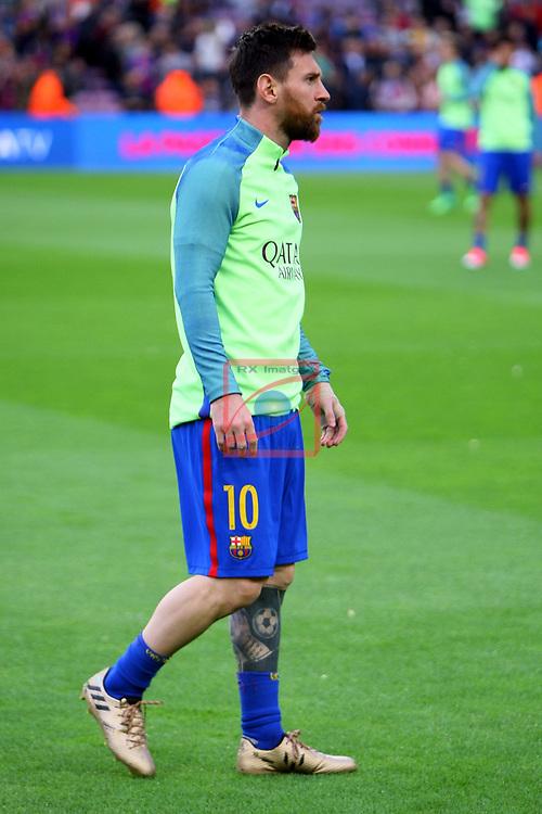 League Santander 2016/2017. Game: 30.<br /> FC Barcelona vs Sevilla FC: 3-0.<br /> Lionel Messi.