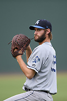 Starting pitcher Jake Bird (33) of the Asheville Tourists warms up before a game against the Greenville Drive on Friday, August 23, 2019, at Fluor Field at the West End in Greenville, South Carolina. Greenville won, 11-1. (Tom Priddy/Four Seam Images)