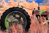 Faux color infrared image of abandoned Farmall tractor in Hyde County, NC