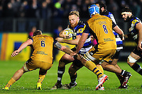 Ross Batty of Bath Rugby takes on the Bristol Rugby defence. Aviva Premiership match, between Bath Rugby and Bristol Rugby on November 18, 2016 at the Recreation Ground in Bath, England. Photo by: Patrick Khachfe / Onside Images