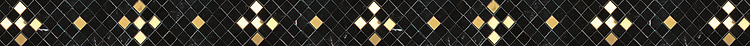 """2 3/8"""" Tzarry Tzarry Sky border, hand-cut stone mosaic, shown in polished Nero Marquina with Brass, is part of Cean Irminger's second KIDDO Collection, """"KIDDO: Wunderkammer Edition."""""""