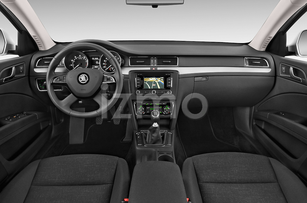 Stock photo of straight dashboard view of a 2014 Skoda SUPERB Active 5 Door Hatchback 2WD Dashboard
