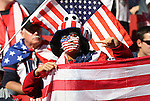 18 JUN 2010:  United States fan in the stands with flags.  The Slovenia National Team played the United States National Team at Ellis Park Stadium in Johannesburg, South Africa in a 2010 FIFA World Cup Group C match.