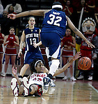 On Sat Feb 19,2005-Rutgers # 32 Chelsea Newton reachs up from the court and strips Notre Dame's # 32-Breona Grey of the ball during the 2nd half of play at Louis Brown Athletic Center in Piscataway.<br />