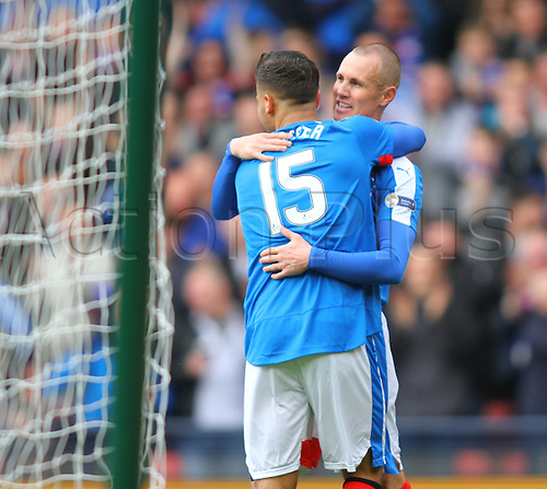 10.04.2016. Hampden Park, Glasgow, Scotland. Petrofac Training Cup Final. Rangers versus Peterhead. Harry Forrester celebrates with Kenny Miller after the first goal