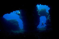 Divers (MR) pictured at the enterance to Second Cathedral of the Island of Lanai, Hawaii.