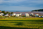Early evening at RV campground overlooking the ocean at low tide, Five Islands, Nova Scotia